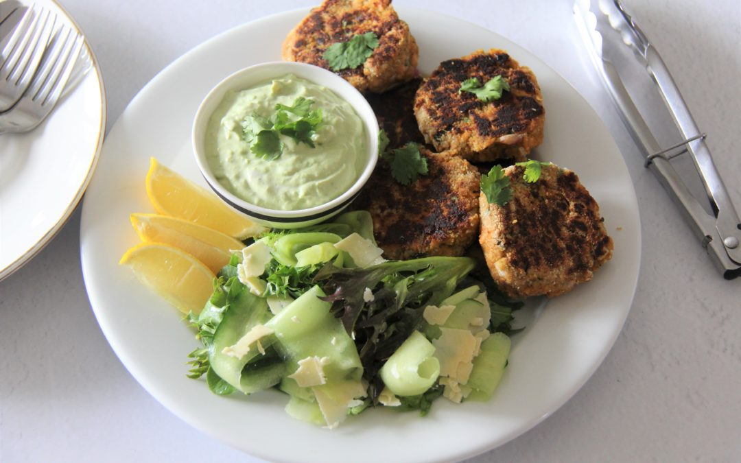 Salmon Cakes with a Green Salad and Avocado Dressing