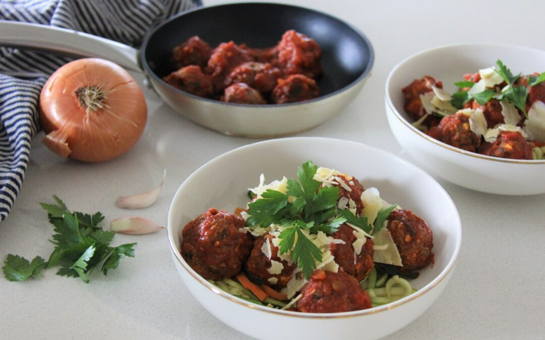 Veggie Balls with Zucchini and Carrot Noodles